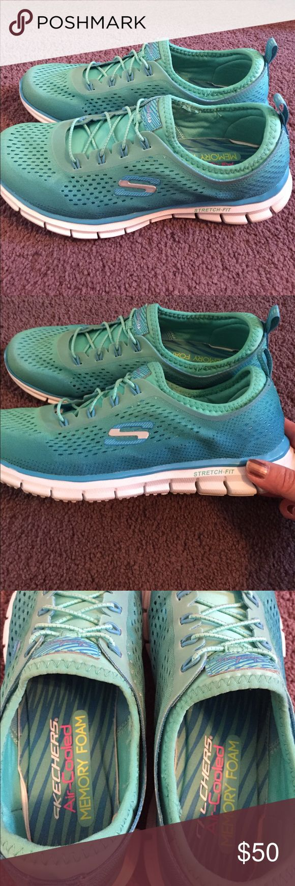 🇺🇸Sale! Like New! Skechers Sneakers Memory Foam Gorgeous Seafoam Green & Turquiose Ombre colors. Amazing memory foam inside so comfy! Only wore once in house didnt fit. Skechers Shoes Athletic Shoes