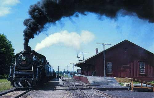 Steam Train leaving Elora Ontario Railway Station in 1958. The Elora Station & Railway Tracks have been long gone, the route is now part of the Elora Cataract trailway 47k recreational trail.  - www.trailway.org - www.eloraculinarywalkingtour.com