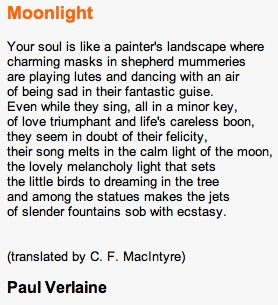 "Paul Verlaine - ""Moonlight"" - The poem that inspired Claude Debussy's ""Clair de lune,"" the third movement of Suite bergamasque."