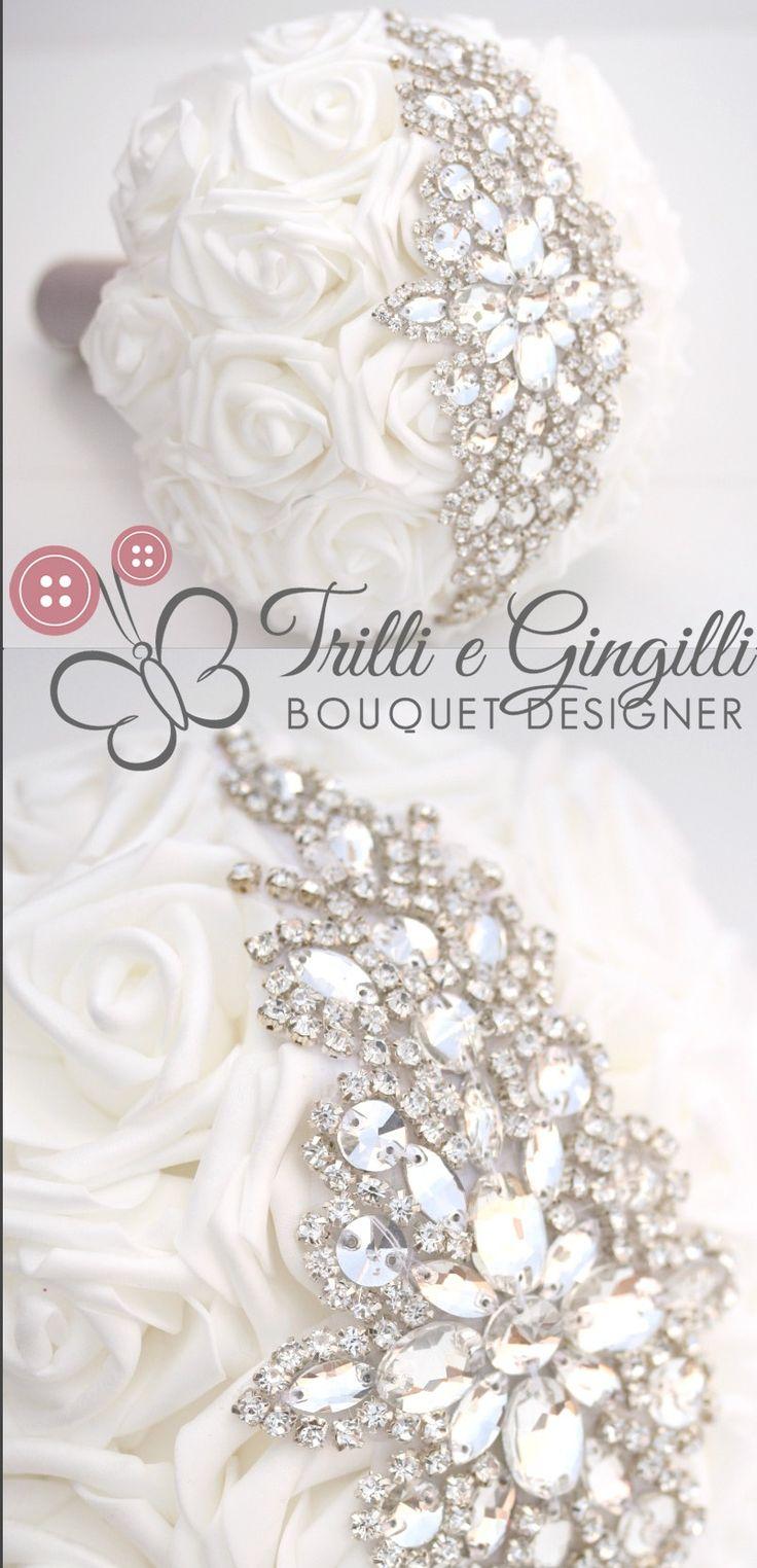 Bouquet gioiello di rose bianche by Trilli e Gingilli - White roses Brooch bouquet Jewelery wedding bridal