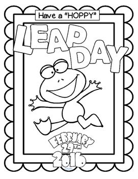 ***FREE*** Leap Year Coloring Page Poster to celebrate Leap Day and Leap Year February 29th 2016. Enjoy!