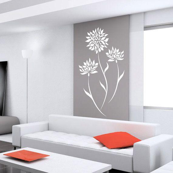 Vinyl Art  Decal Stylish Modern Flower  Wall Sticker Decals Home Decor Art by DecalIsland -  Stylish Modern Flower sur Etsy, $17.31 CAD