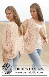 """Knitted DROPS jacket worked in a circle with lace pattern in """"Paris"""". Size: S - XXXL. ~ DROPS Design"""