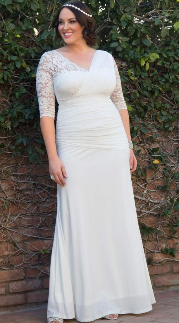 Great Tea Length Plus Size Wedding Dress With Half Sleeves Appliques Lace Women Bridal Gown