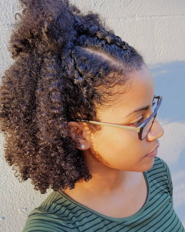 """Wash and Go with three cornroll braids in front. This was a new style for me and it came out cute!"" Hair Inspo from @curly_ari"
