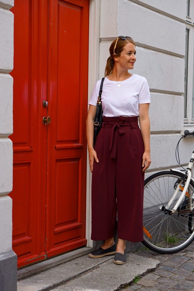 Wide waist pleated burgundy trousers from COS