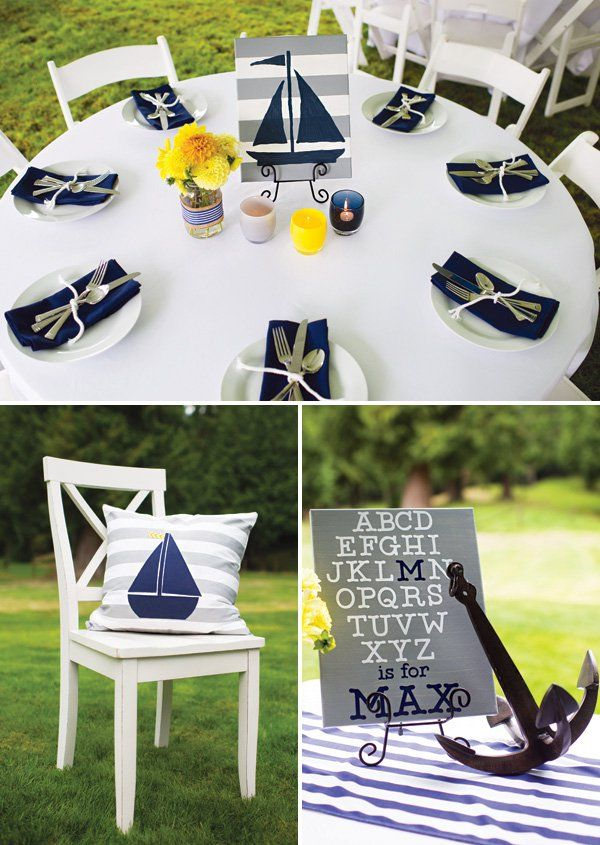 """""""Ahoy it's a Boy"""" Preppy Nautical Baby Shower // Hostess with the Mostess®"""