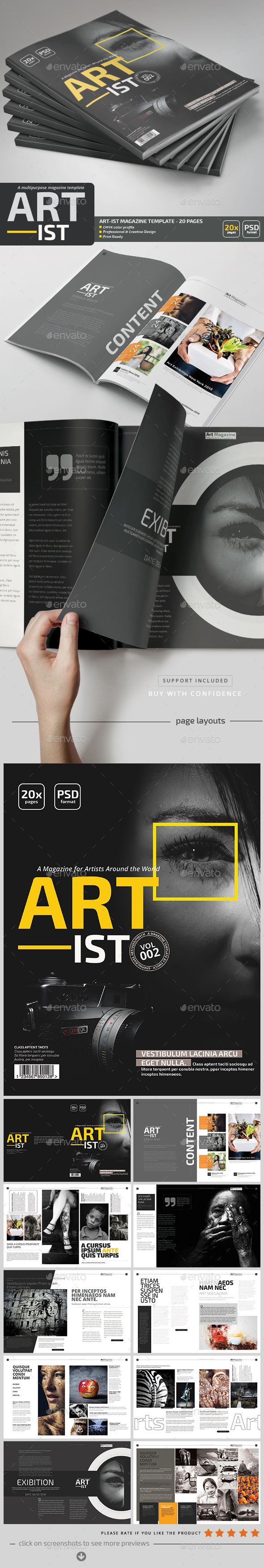 Art-ist Magazine Template V.2 by pmvch Art-Ist Photoshop Magazine Template Vol.2can be used as a magazine, portfolio or a brochure.Fully layered PSD files and very easy