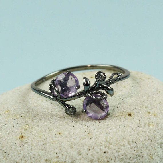 Black Amethyst & White CZ Floral Ring by tooriginal on Etsy, $50.00 Love this!