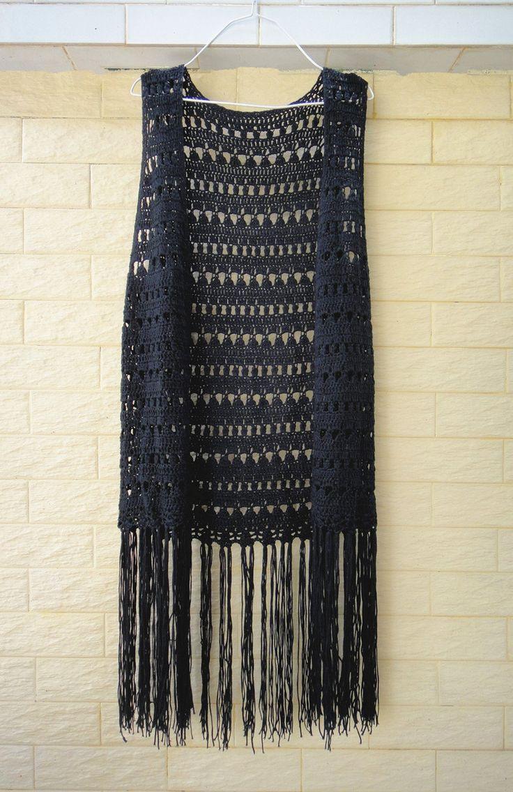 Largo negro con flecos Crochet chaleco Top por TinaCrochet2016