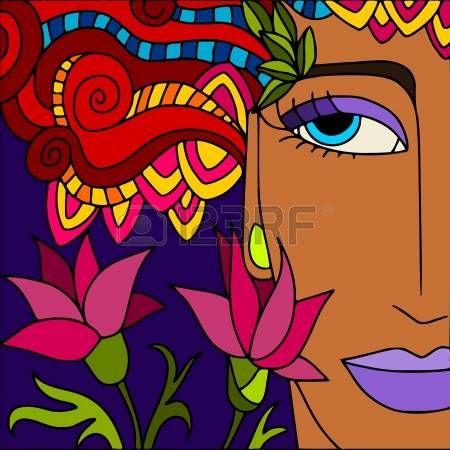 абстрактный фон с женское лицо photo