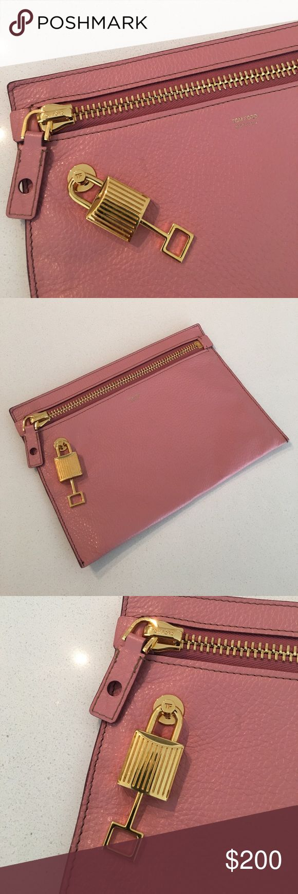 Tom Ford Millennial Pink Clutch This is a pre-owned item. This clutch is gorgeous and in near perfect condition. The key is stuck in lock, however any Tom Ford boutique can fix this for you if it bothers you. Doesn't bother me personally. Authentic item. Was purchased at Last Call Neiman Marcus. Does not come with original dust bag or receipt. It's a great size for evenings out, I just do not use it so hopefully it finds a good home! Will ship same or next business day. Tom Ford Bags…