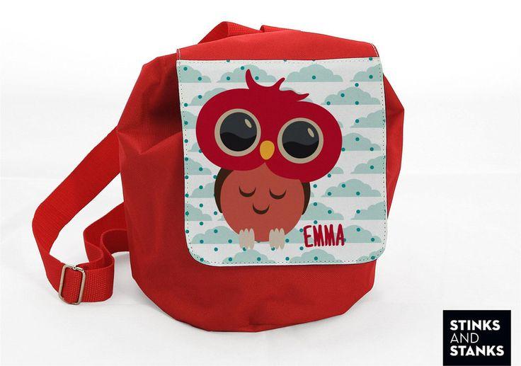 Kinderrucksack Eule mit Namen RS001 von STINKSANDSTANKS - Individualisierbare Geschenke auf DaWanda.com