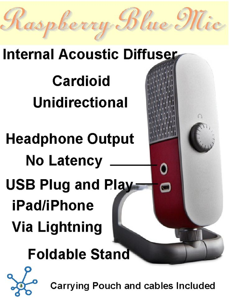 Raspberry Blue Microphone has it all, for Musicians, Podcasters, Voice-overs and Gamers. Up your audio quality with The Raspberry. Patent-pending Internal Acoustic Diffuser design resembles treatments found in studios and concert halls, focusing your voice or instrument while minimizing the sound of the room. Like a portable vocal studio in the palm of your hand, Raspberry gives you professional results-everywhere you go.
