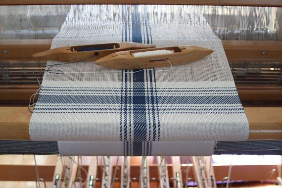 Nautical blue & white handwoven farmhouse plaid pillow cover made by Nutfield Weaver. So much fun to see a handwoven creation on the loom before it's finished!