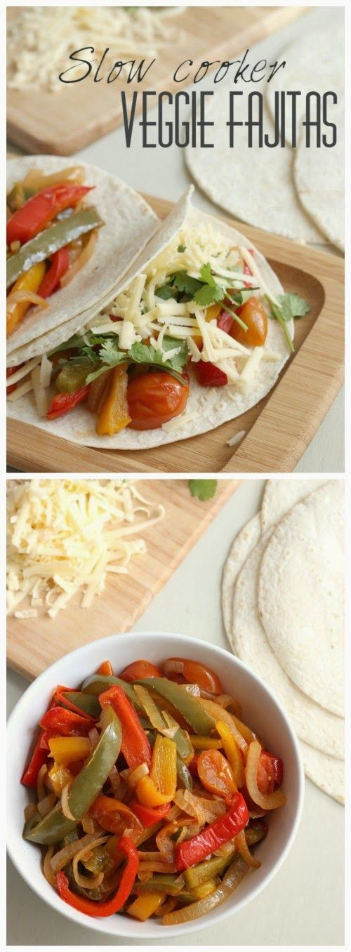 Slow Cooker Veggie Fajitas from Amuse Your Bouche sound delicious for a Meatless Monday meal!  [Featured on SlowCookerFromScratch.com]