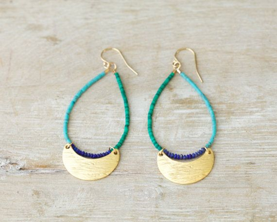 Scalloped beaded earrings lapis turquoise and malachite by Filoe