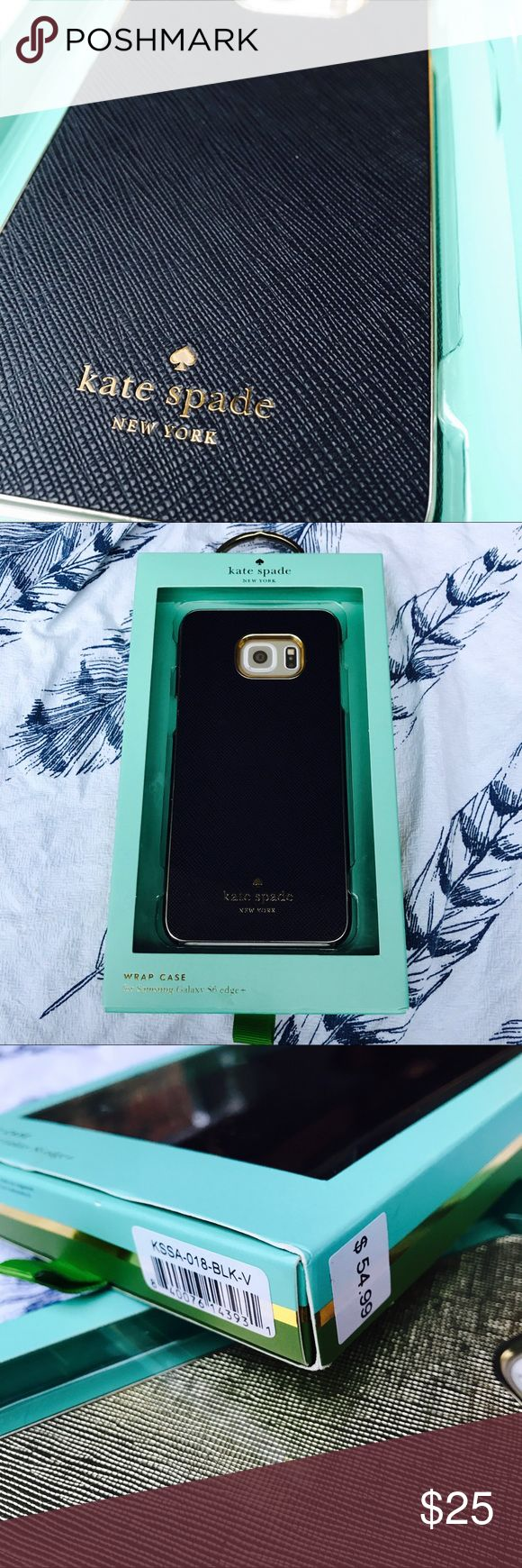 Black Kate Spade Wrap Case for Galaxy S6 Edge+ Kate Spade New York Wrap Case for Samsung Galaxy S6 edge+ Saffiano Black KSSA-018-BLK-V. Original Kate Spade New York item designed to be used with the Samsung Galaxy S6 edge+. The cases are unused, but the packaging may have signs of wear from storage. kate spade Accessories Phone Cases