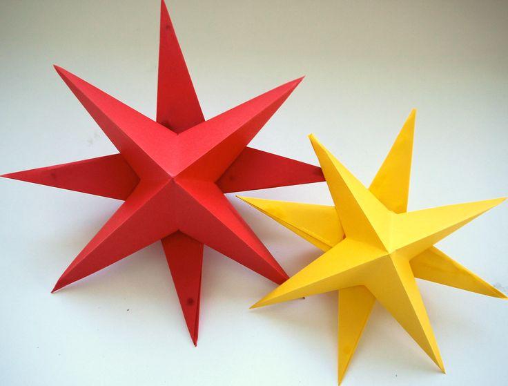 3D kerststerren vouwen met uitleg van Juf Lisanne. / 3D christmas paper stars with folding instructions