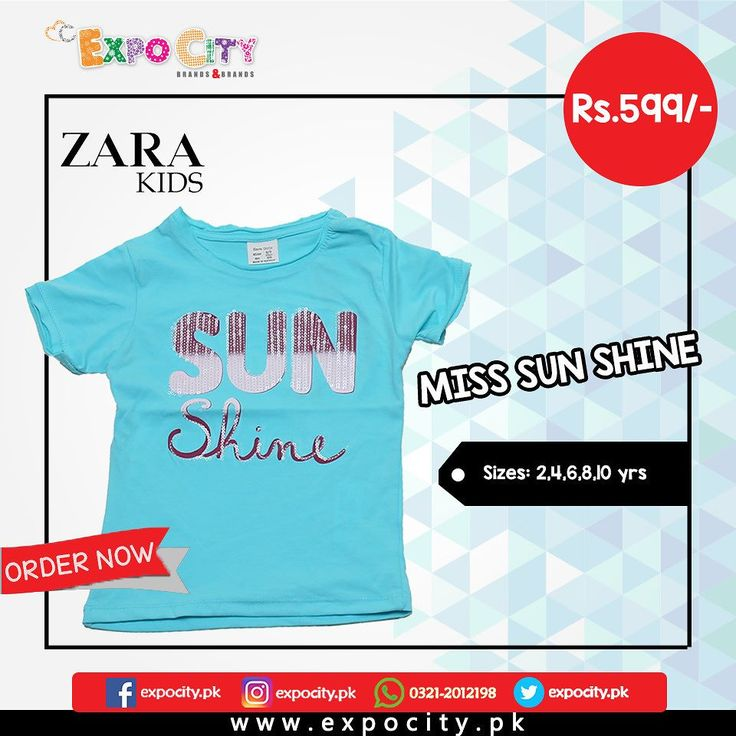 Product: Miss Sunshine  Brand: Zara Kids  Price: Rs. 599  #Children #Girls #Dress #Shirts #Tshirts Tops #Karachi #Lahore #Islamabad #OnlineShopping #ExpoCity #Kids #BabyGirls #CashOnDelivery #Apparel #PartyWear #Pakistan #PakistanShopping #Stylish #Plain #Casual #Colorful #ZaraKids