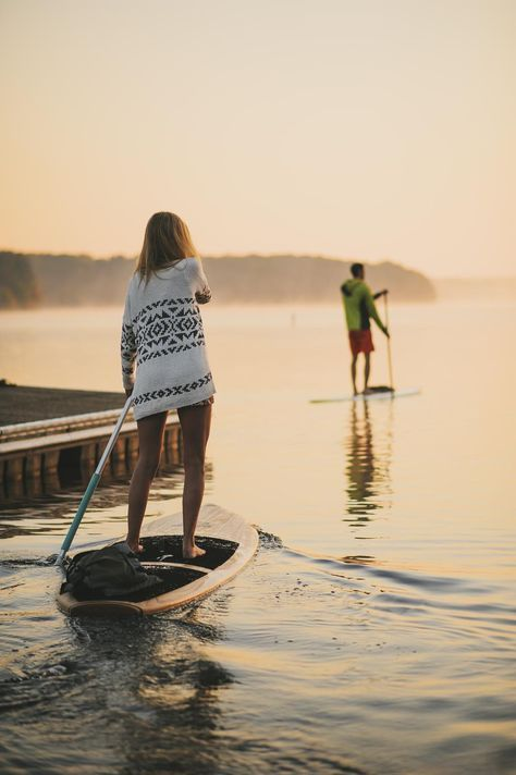 paddle boarding | summers | lake at sunset | serene | relax | partners | friends | camping | explore | adventure