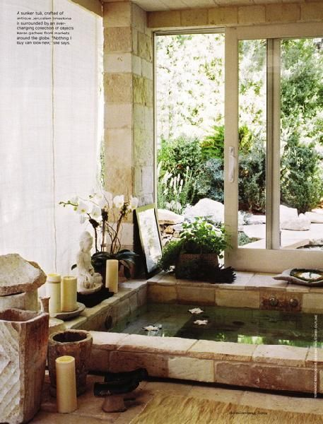 another zen-inspired fave...that sunken stone tub is so calling my name...just add some billowy white curtains around the perimeter of the room for privacy and softer light