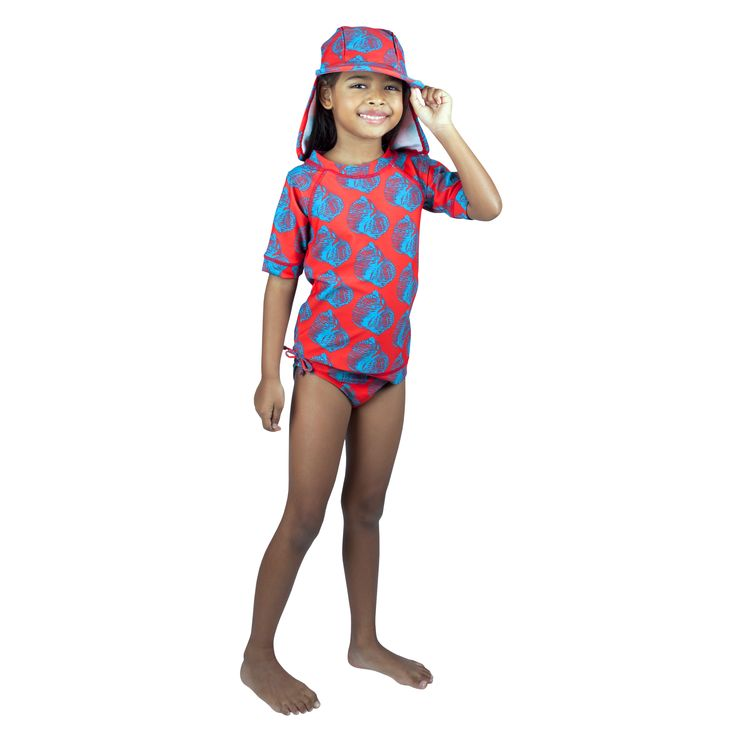 Frolik Shell ensemble - Sun Hat, Rash Vest and Pants. Available at www.frolikbeachstyle.com in sizes 2-3, 4-5, 6-7 and 8-9yrs.