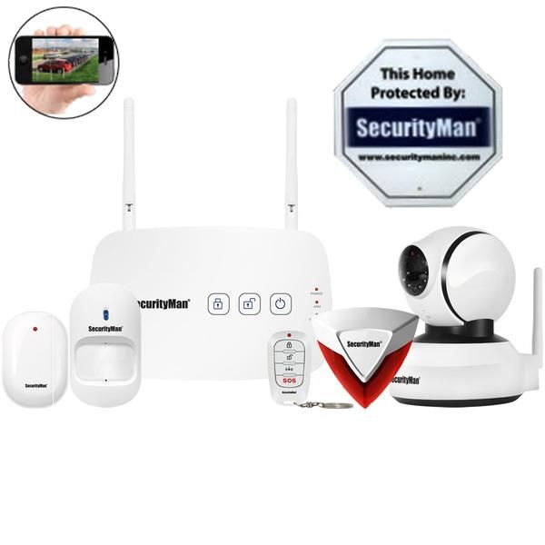 SecurityMan IWATCHALARMD1 Mobile App Based Wireless Home Security Alarm System with Pan-Tilt Camera   The SecurityMan IWATCHALARMD1is an app based wireless Home Security System with Pan-Tile camera to secure your home/business. The free HOMEBOT app puts you in full control of your security system and lets you use your Smartphone or tablet to arm, disarm and monitor your security system at any time without service fees or contracts. It shows you when the system has been armed, disarme...