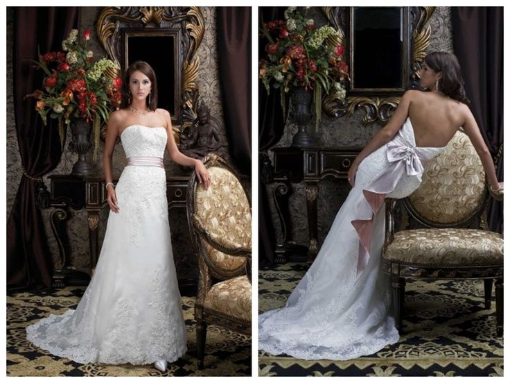 New and Cheap Embroider satin A-line Empire waist lacing up Backless Wedding dress with pink sash