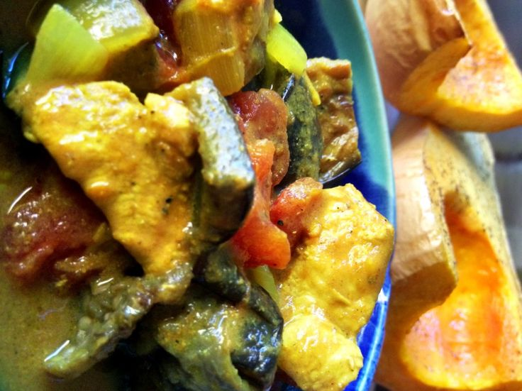 This gorgeous curry has roasted eggplant, chicken, coconut milk, and cardamom as the main ingredients.  It's packed with protein, pairs well with roasted butternut squash, as well as dairy and grain free.