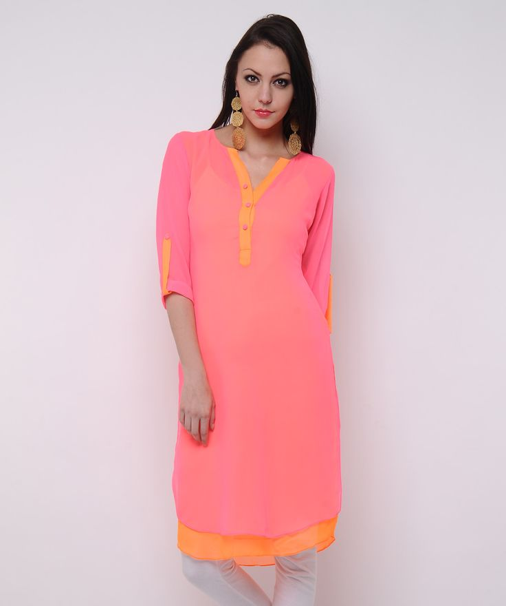 Designer Peach color #kurti