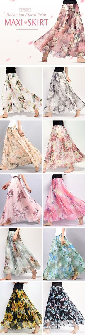US$22.48 Gracila Bohemian Chiffon Floral Print Elastic Waist Maxi Skirt For Women #dressesforwomen