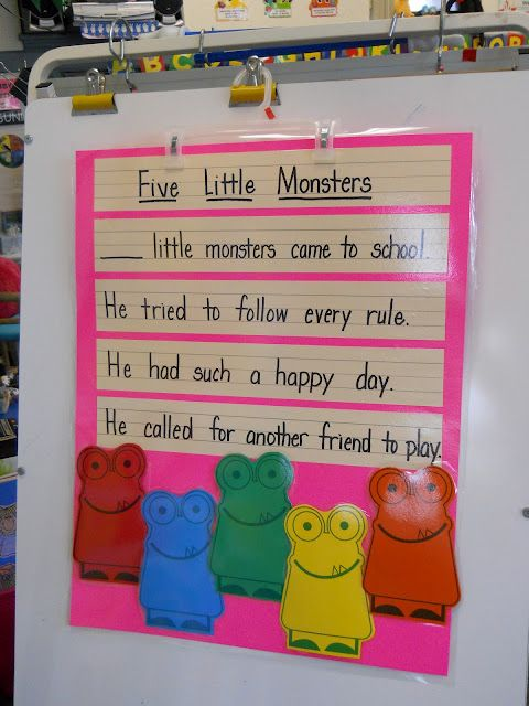 Mrs. Greene's Kindergarten Korner: Five Little Monsters Came to School