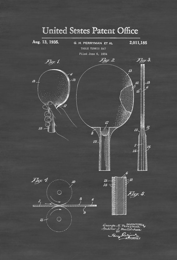 Ping Pong Paddle Patent 1935 - Patent Prints Wall Decor Tennis Table Bat Ping Pong Sports Wall Art Basement Decor by PatentsAsPrints