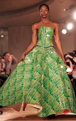 Gary Harvey created a one-of-a-kind couture outfit made from recycled Weleda Skin Food packaging.