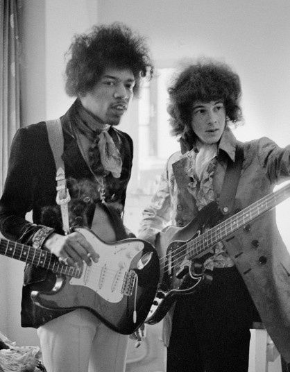 Jimi Hendrix and Noel Redding backstage at the Saville Theatre, London, 4 June 1967.