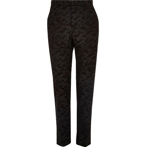 River Island Black camo print skinny suit pants ($80) ❤ liked on Polyvore featuring men's fashion, men's clothing, men's pants, men's dress pants, suits, mens skinny fit dress pants, mens skinny pants, tall mens pants, tall mens dress pants and mens skinny suit pants