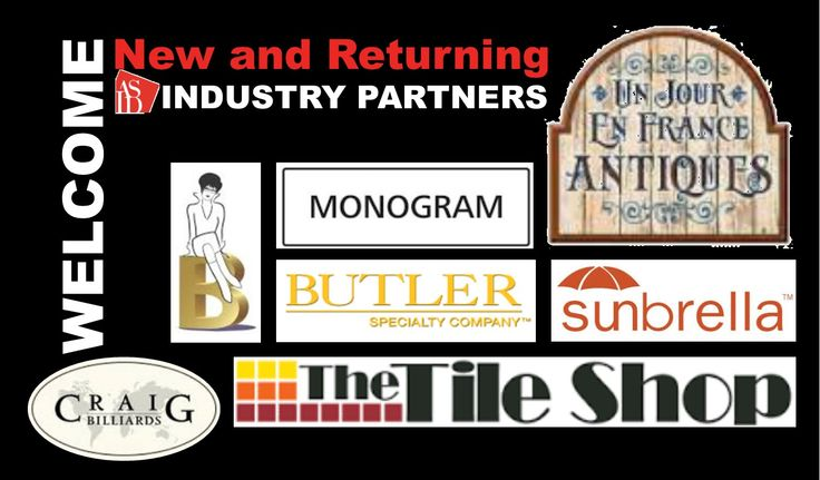 Shout Out to Welcome the new and returning ASID Industry Partners: Barbara's Picks, Butler Specialty, Craig Billiards, Monogram Appliances, Sunbrella Fabrics, The Tile Shop, Un Jour en France.