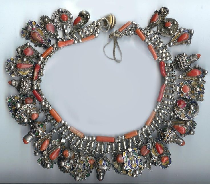 Africa   Kabyle silver, enamel and coral necklace from Algeria