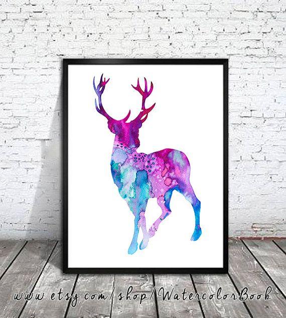 Deer 4 Watercolor Print watercolor painting by WatercolorBook, $15.00
