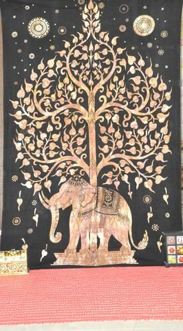 Indian Elephant Tapestries Bohemian Tree Of Life Tapestry Wall Hanging-Jaipur Handloom