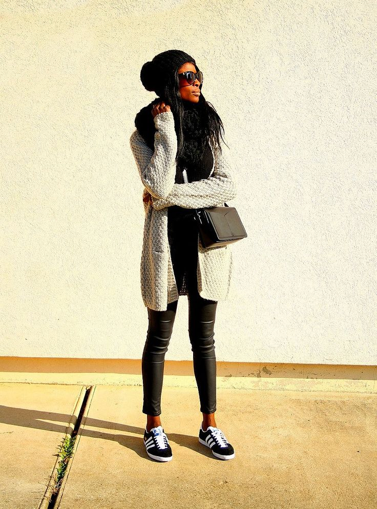 gilet maille blog mode tenue casual adidas gazelle