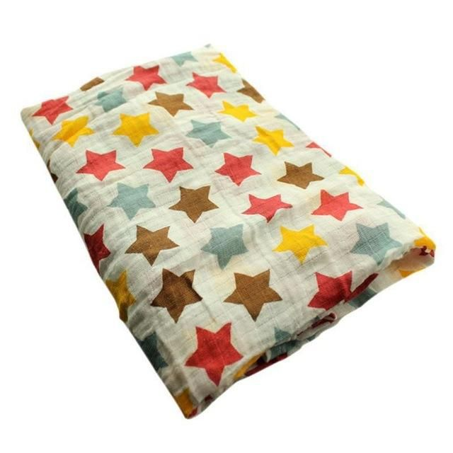 Polka Stars Muslin Swaddle Blanket for $14.99 Buy it today from www.presentbaby.com  We sell a wide array of baby clothing, socks, shoes, bottles, blankets and more. For more information visit our website today.  #summer #cute #toddler #newborn #neutral #onesies #infant #gender #warmers #floral
