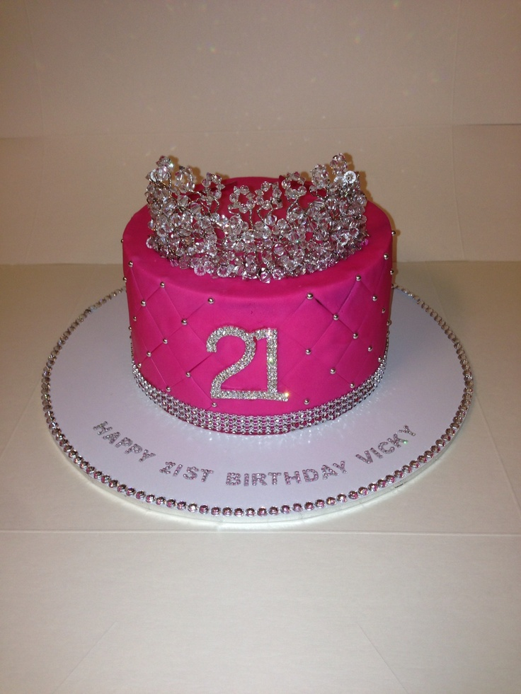 21st Birthday cake.. But with cocktail glass at the top and not a tiara!