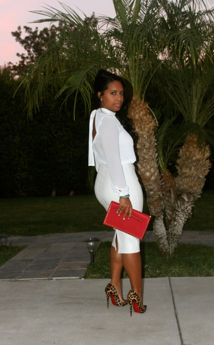 Wearing: White Skirt (Similar here), White blouse (here) Christian Louboutin Heels, Valentino Clutch.
