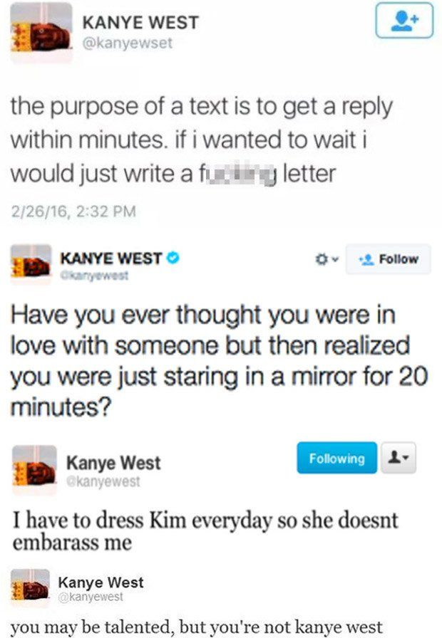 E News Kanye West Deleted Twitter Instagram Kanye West Quotes Funny Kanye Tweets Kanye West Quotes