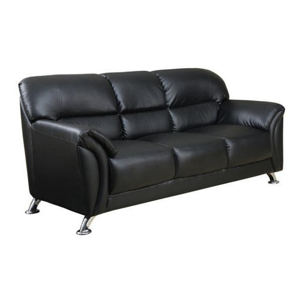 Franco Sofa ❤ liked on Polyvore featuring home, furniture, sofas, vegan leather couch, pleather couch, faux leather couches, fake leather couch and pleather sofa