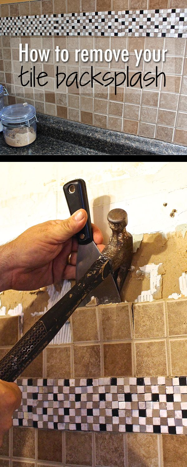 How to remove your tile backsplash in two easy steps. DIY kitchen renovation for the One Room Challenge.