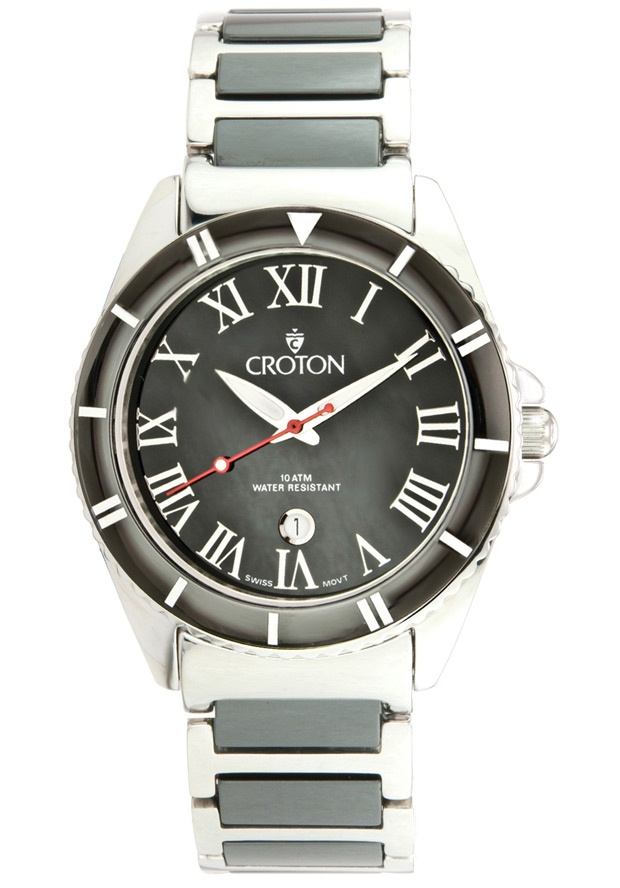 Price:$147.96 #watches Croton CR307853SSBK, With a royal appeal, this Croton timepiece has a regal design and adds a refined look to your wardrobe.