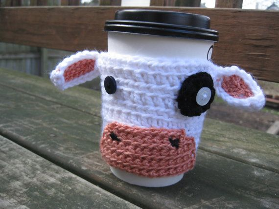 Moo Cow Crochet Coffee or Tea Cozy by StitchedByMyHand on Etsy, $6.00